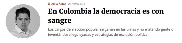 En Colombia la democracia es con sangre