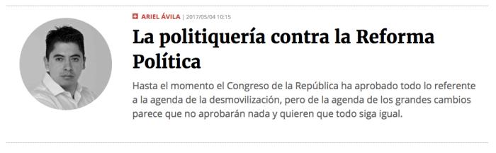 La politiquería contra la Reforma Política